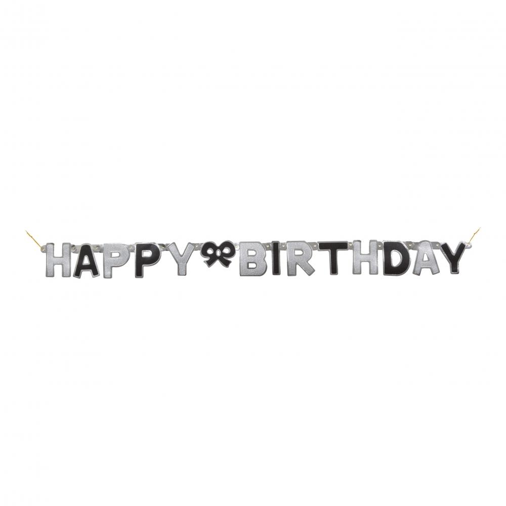Bokstavsgirlang Happy Birthday Svart/Silver
