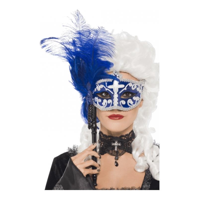Blå & Silver Maskeradmask på Pinne