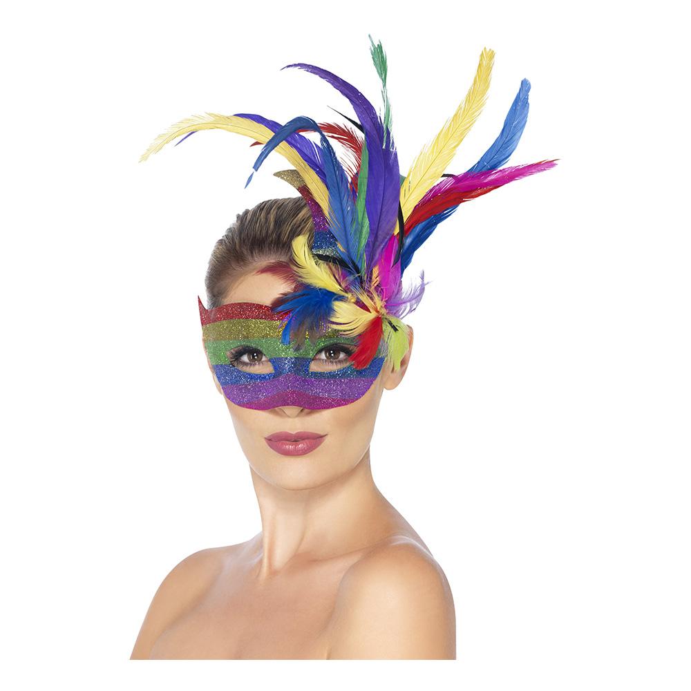 Carnivalmask Regnbågsfärgad med Fjädrar
