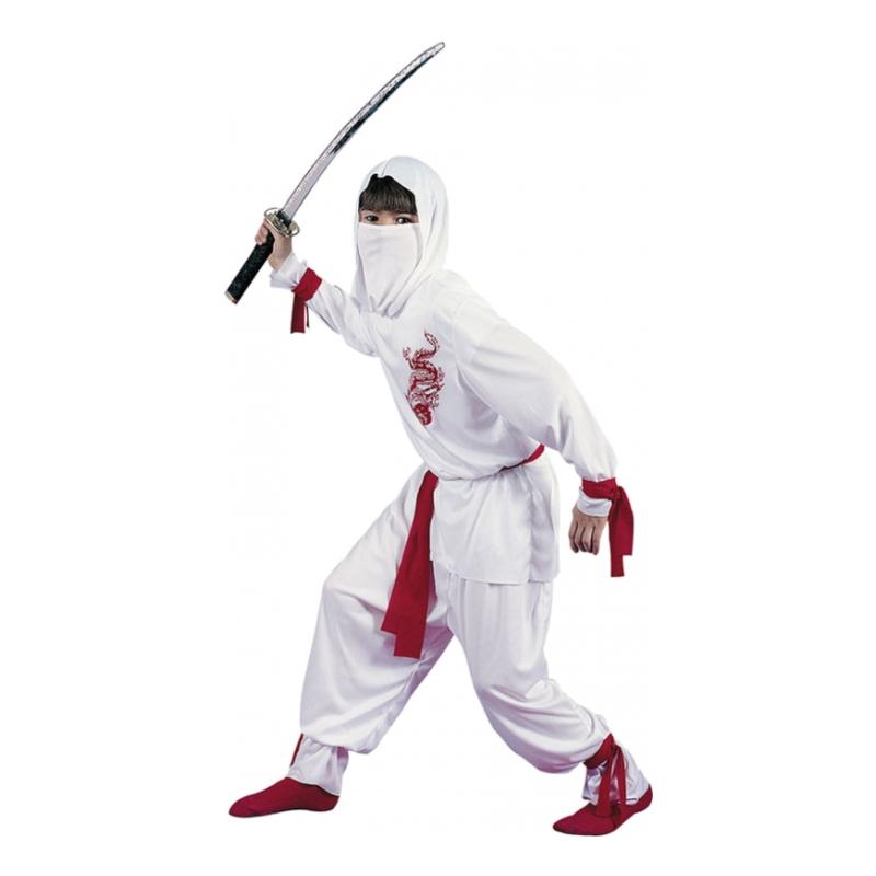 Vit Ninja Barn Maskeraddräkt