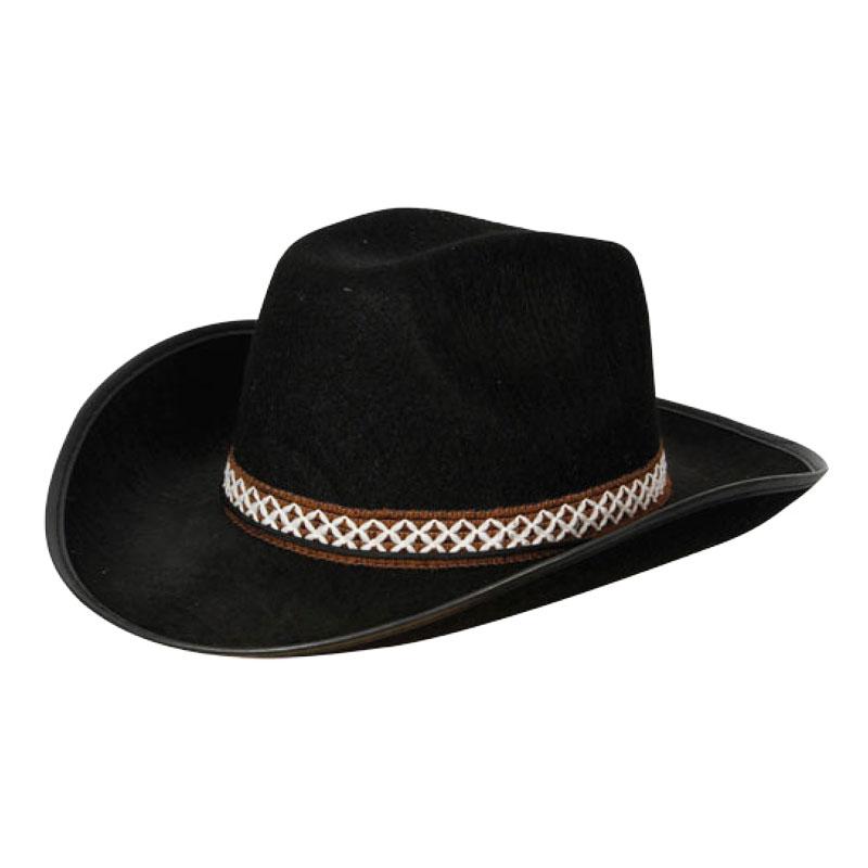 Cowboyhatt Svart med Band