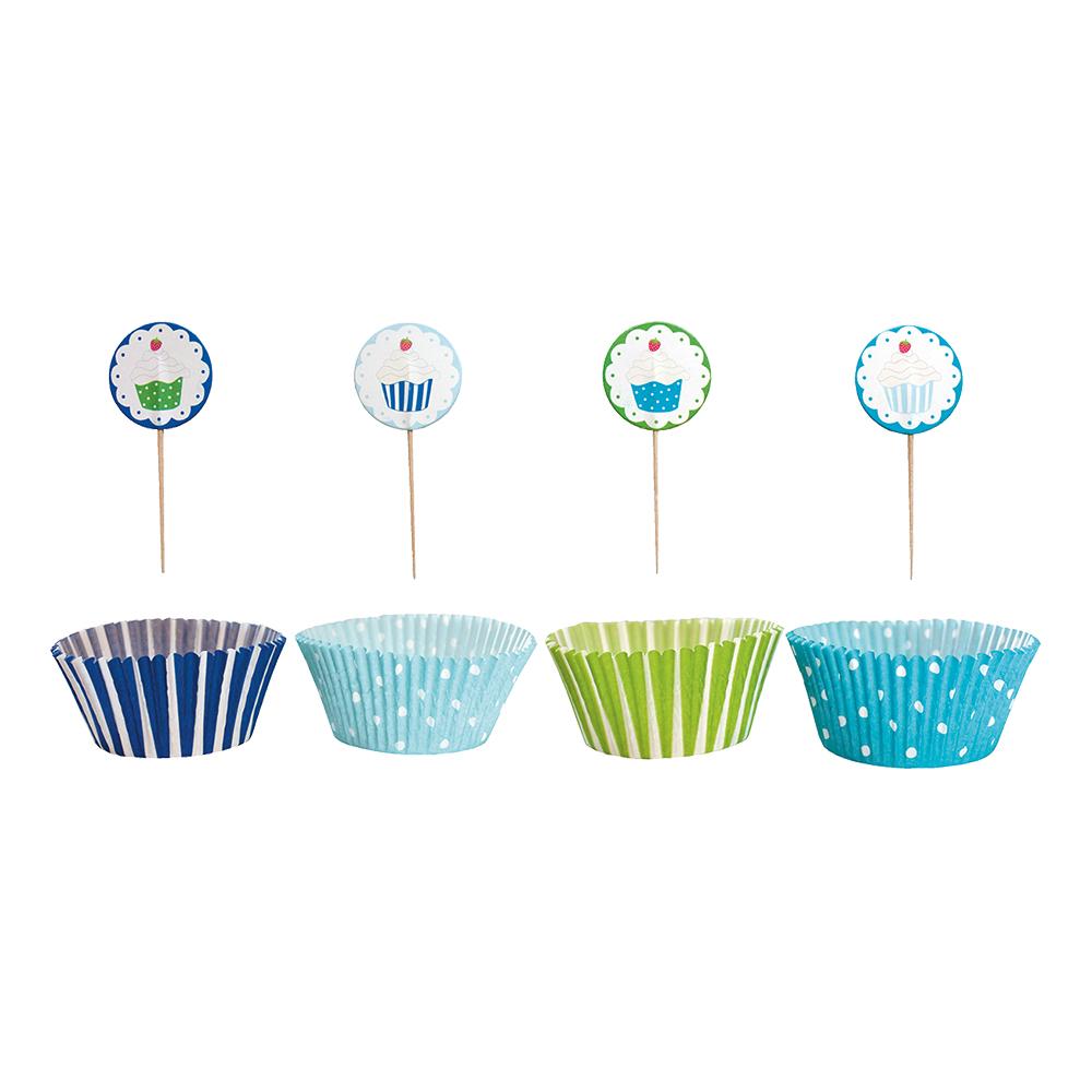 Cupcakeset Blå/Grön Prickig Randig