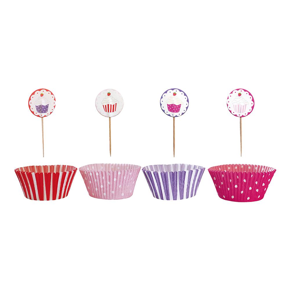 Cupcakeset Rosa/Lila/Röd Prickig