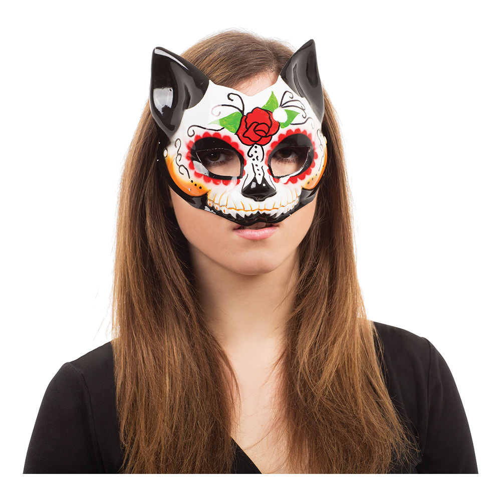 Day of the Dead Katt Halvmask