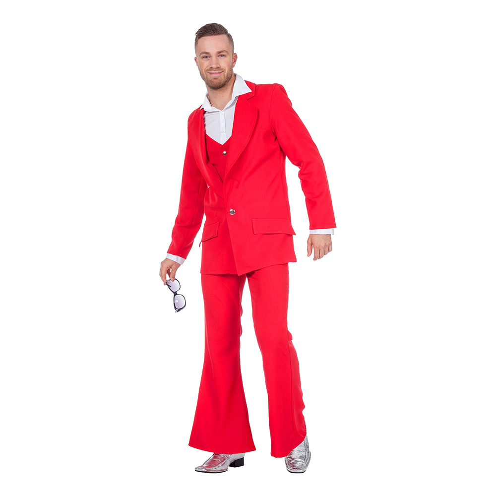 Disco Kostym Röd Maskeraddräkt