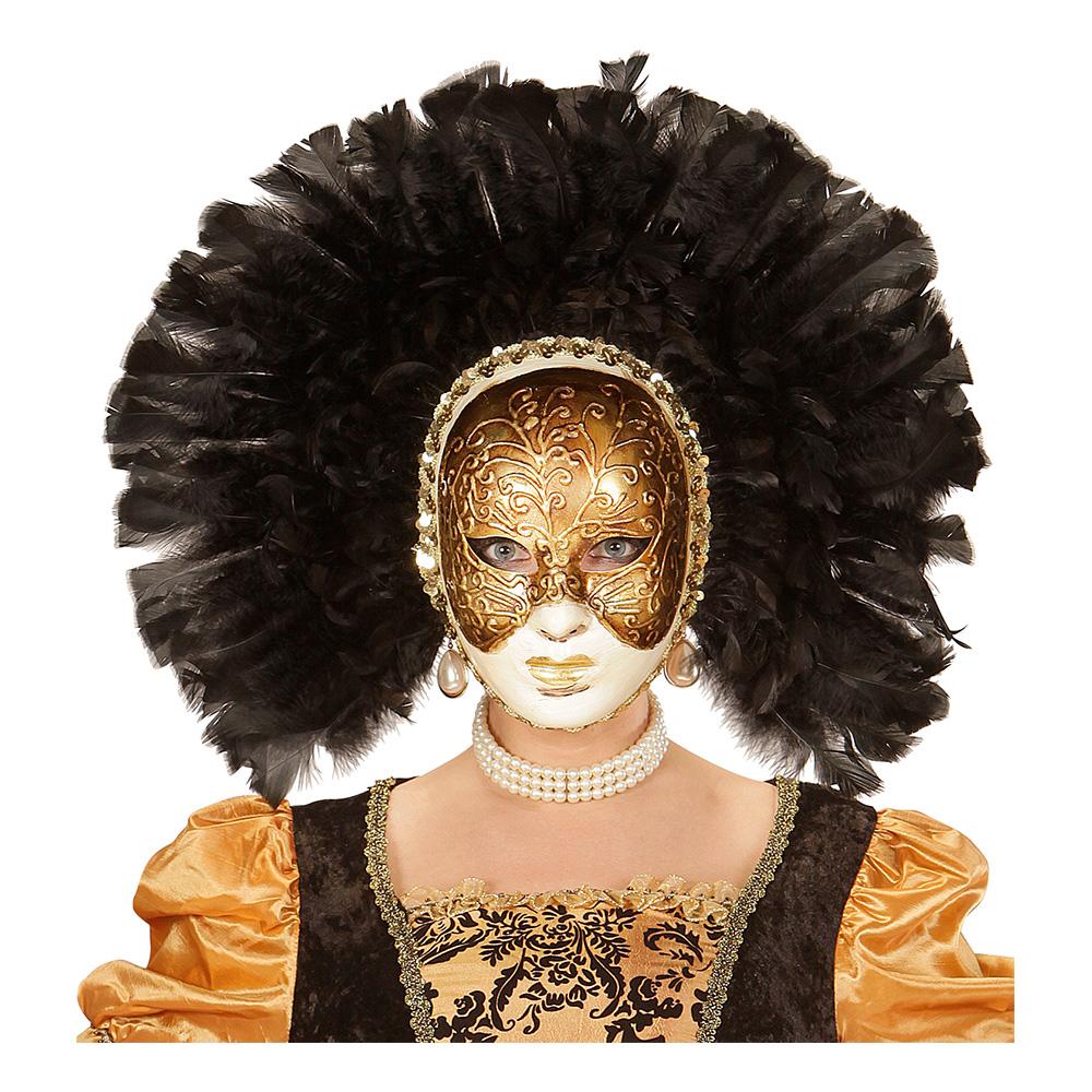 Fidelio Mask med Svarta Fjädrar