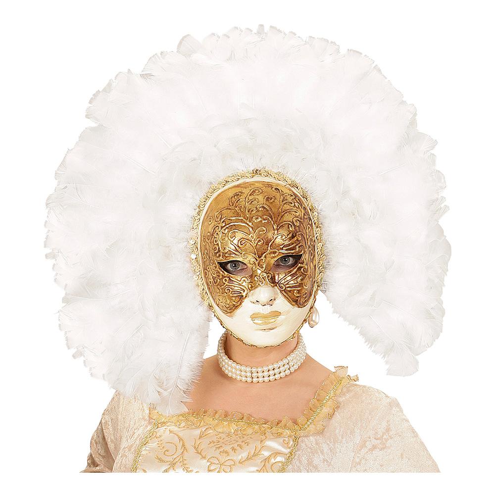 Fidelio Mask med Vita Fjädrar