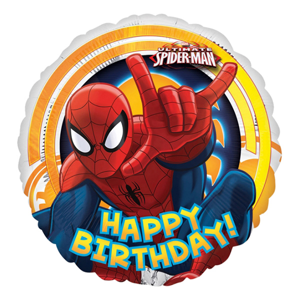Folieballong Happy Birthday Spiderman