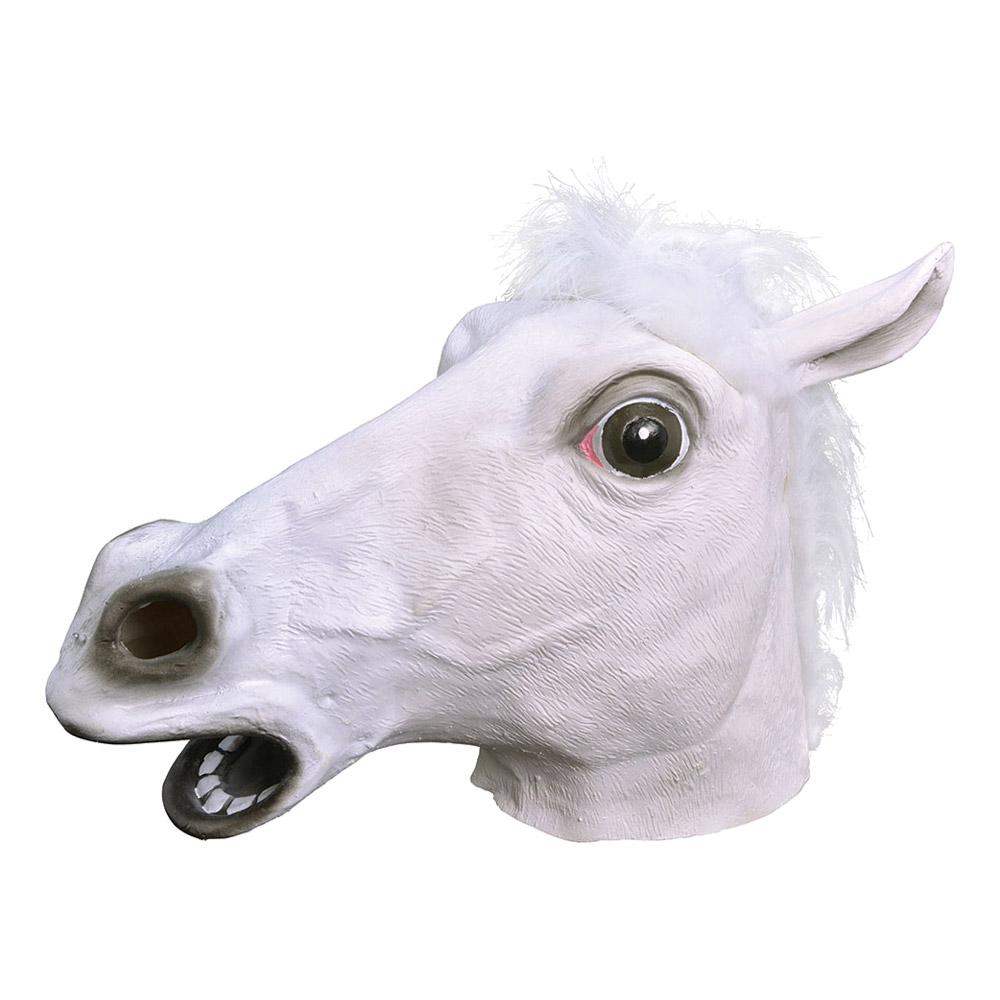 Vit Hästmask i Gummi