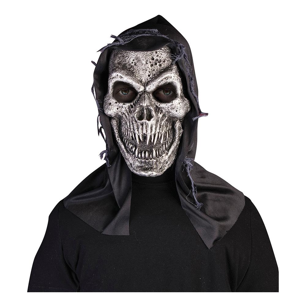Metall Dödskalle med Huva Latexmask