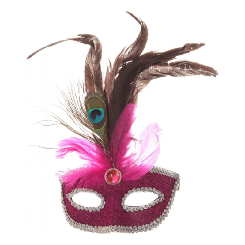 Maskeradmask med Fjädrar