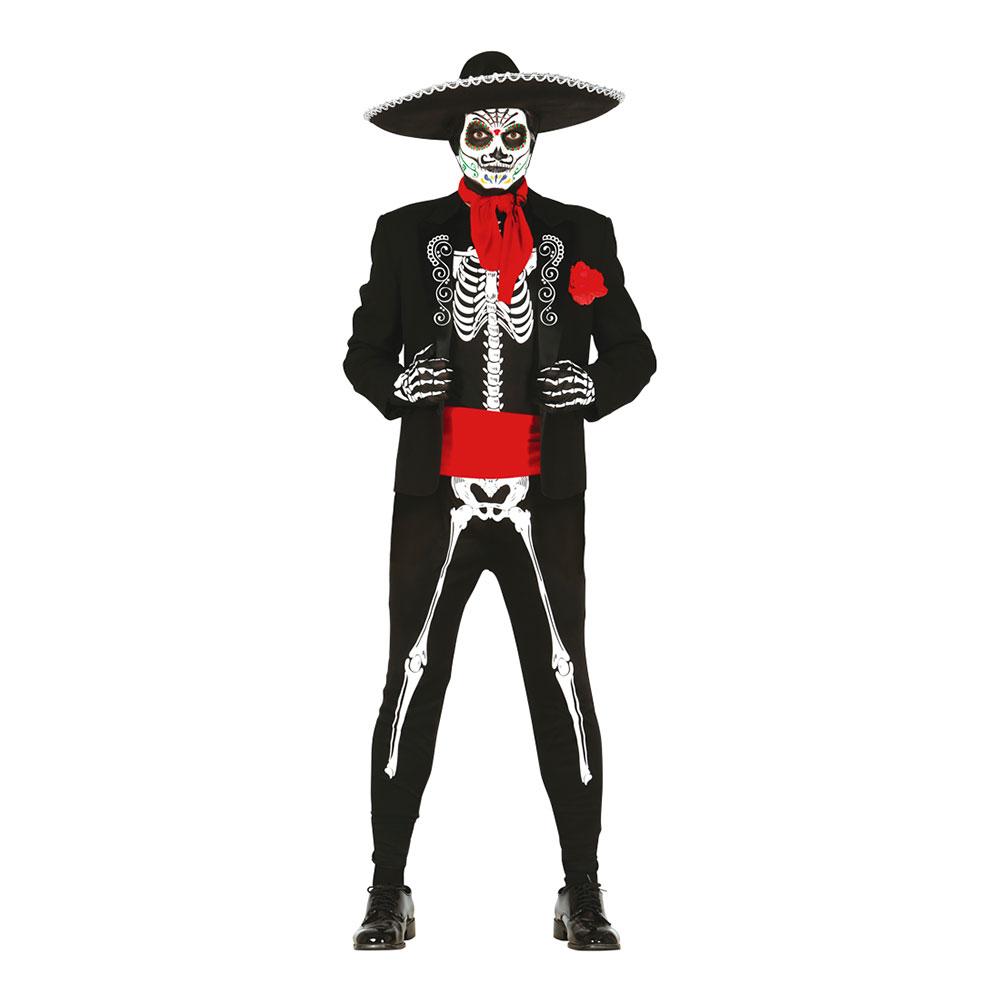 Mexikanskt Skelett Maskeraddräkt