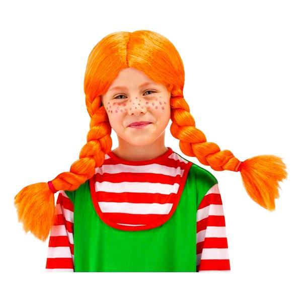 Orange Barnperuk med Flätor