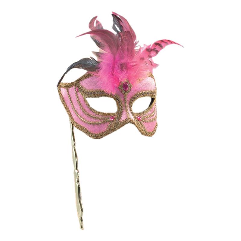 Rosa och Guld Maskeradmask