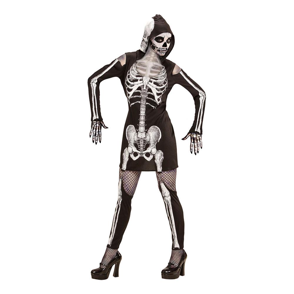 Skelettklänning med Huva Maskeraddräkt