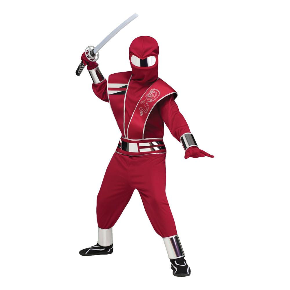 Spegelninja Röd Barn Maskeraddräkt