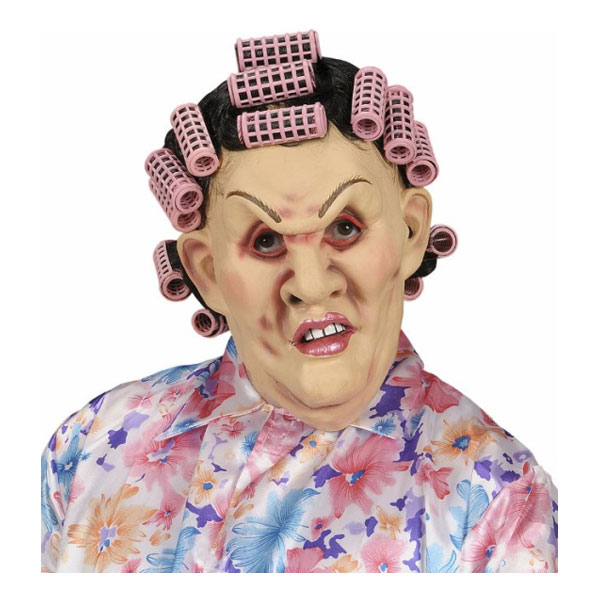 Svärmor Mask med Peruk och Hårrullar