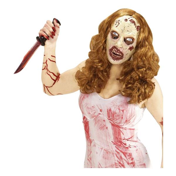 Zombiemask med Peruk