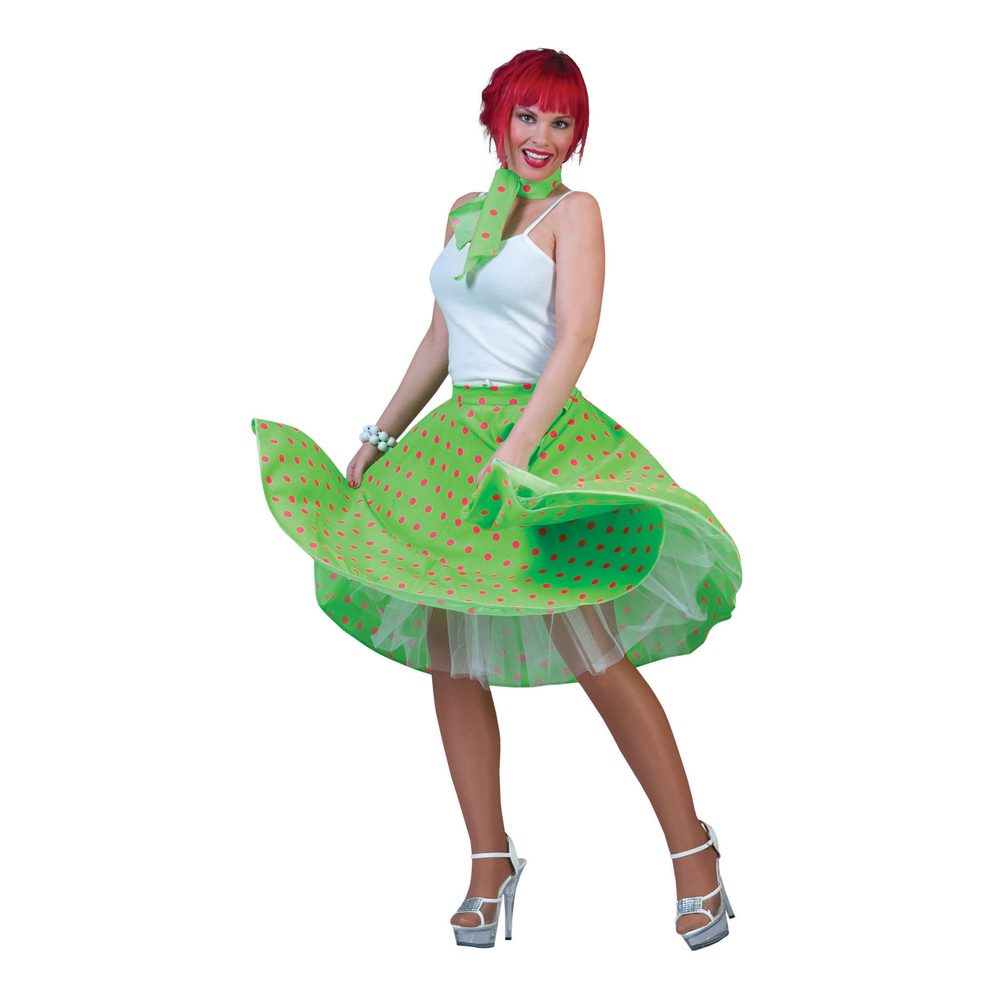 50-tals Kjol Grön med Scarf - One size