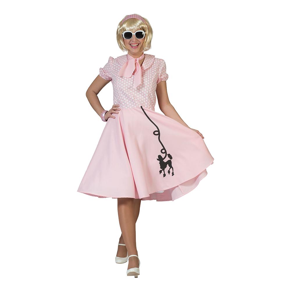 50-tals Klänning Ljusrosa Maskeraddräkt - One size