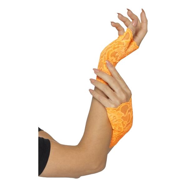 80-tals Fingerlösa Spetshandskar Orange - One size