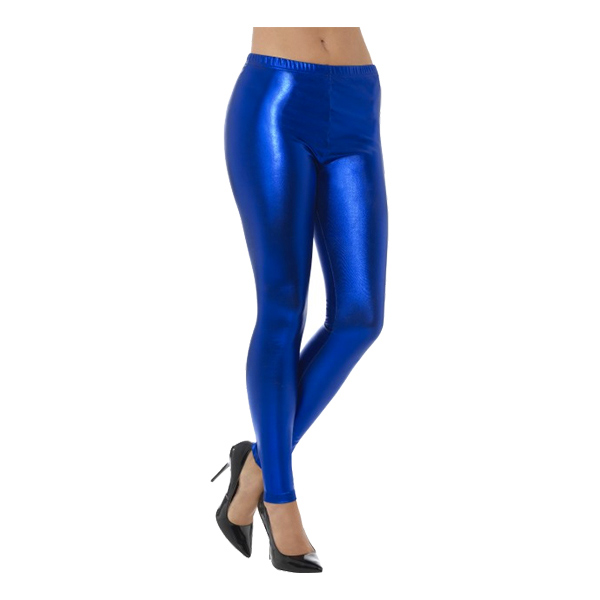 80-tals Metallic Disco Leggings Blå - Small