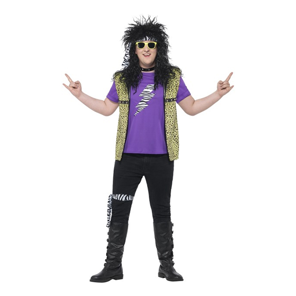 80-tals Rockstjärna Plus-size Maskeraddräkt - Large