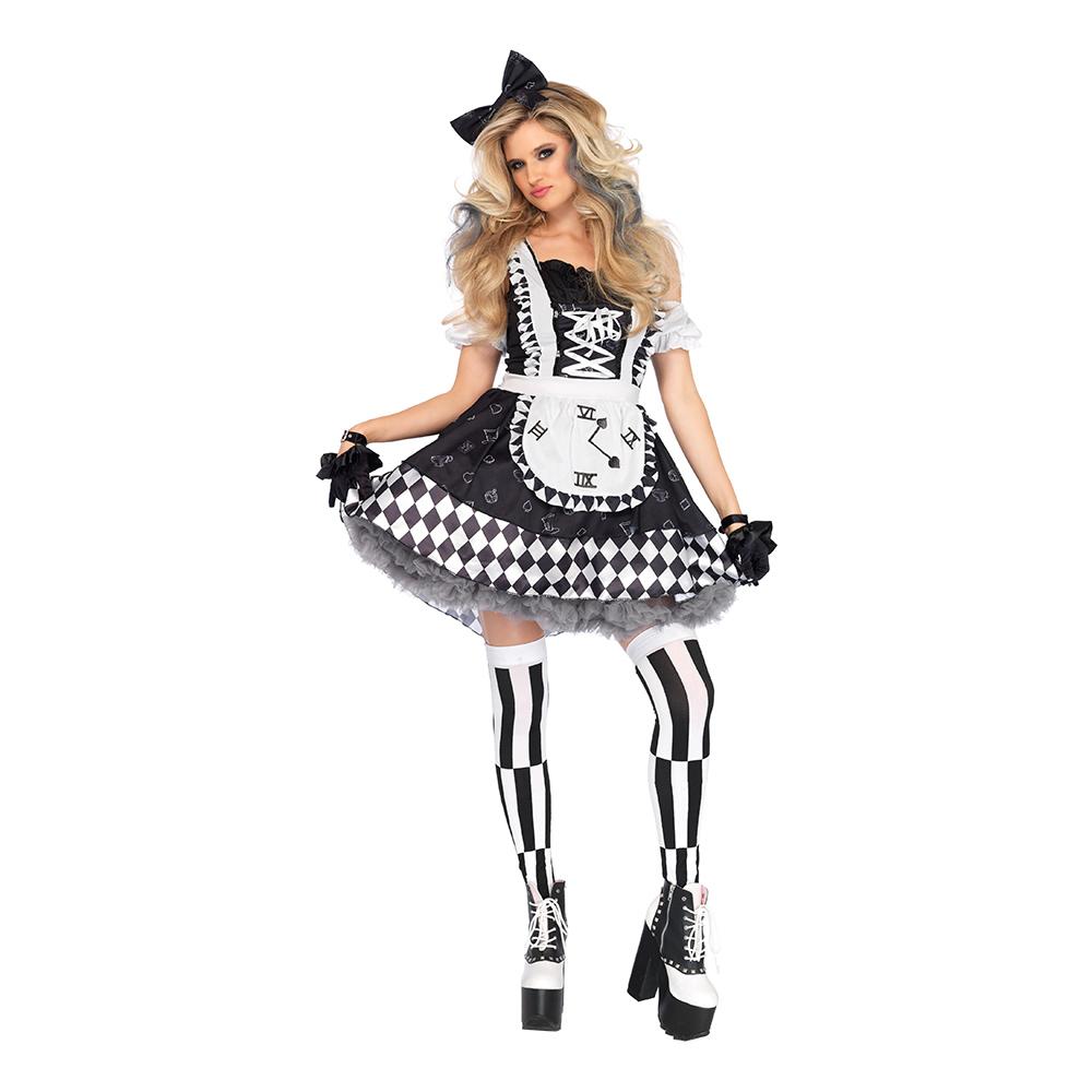 Alice med Klocka Svart/Vit Deluxe Maskeraddräkt - Small