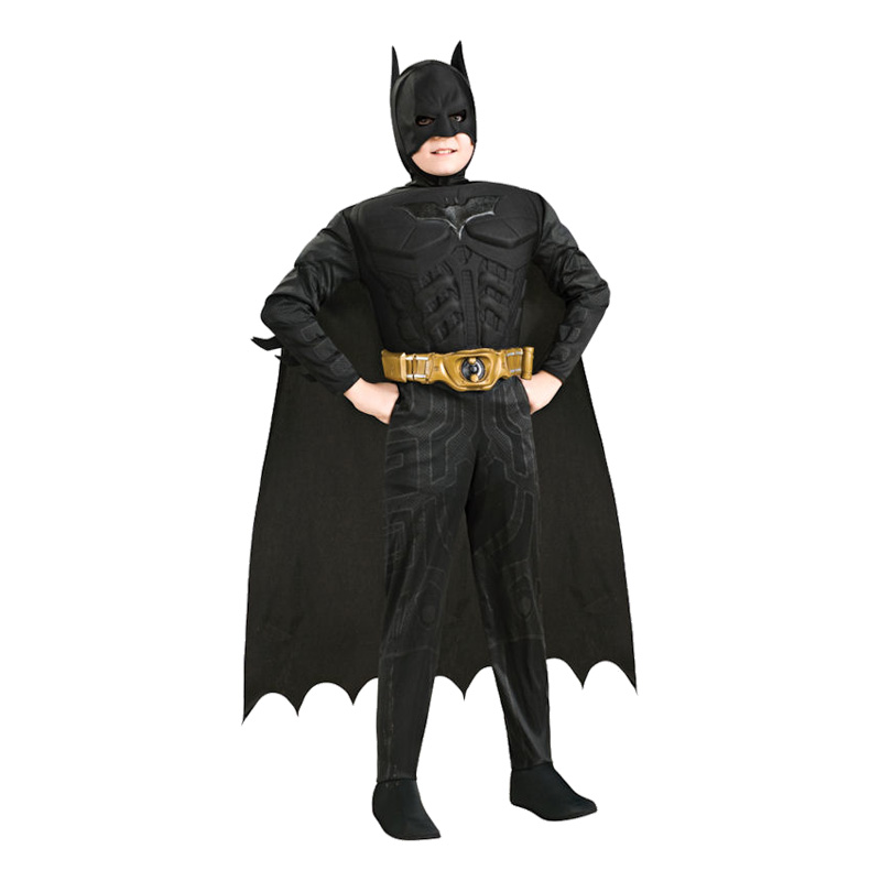 Batman Dark Knight med Muskler Barn Maskeraddräkt - Small