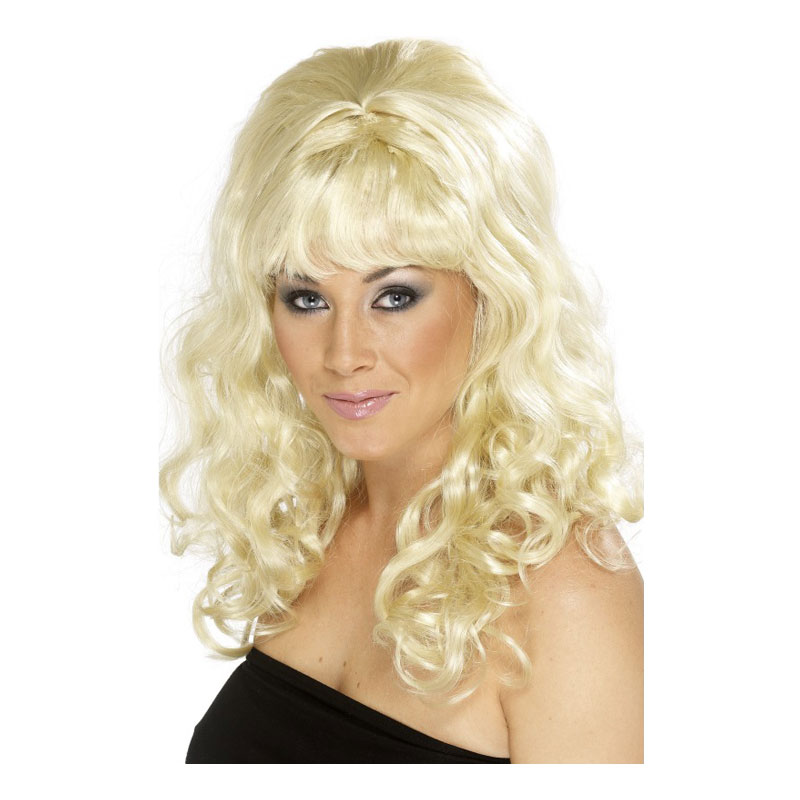 Beehive Blond Lockig Peruk - One size