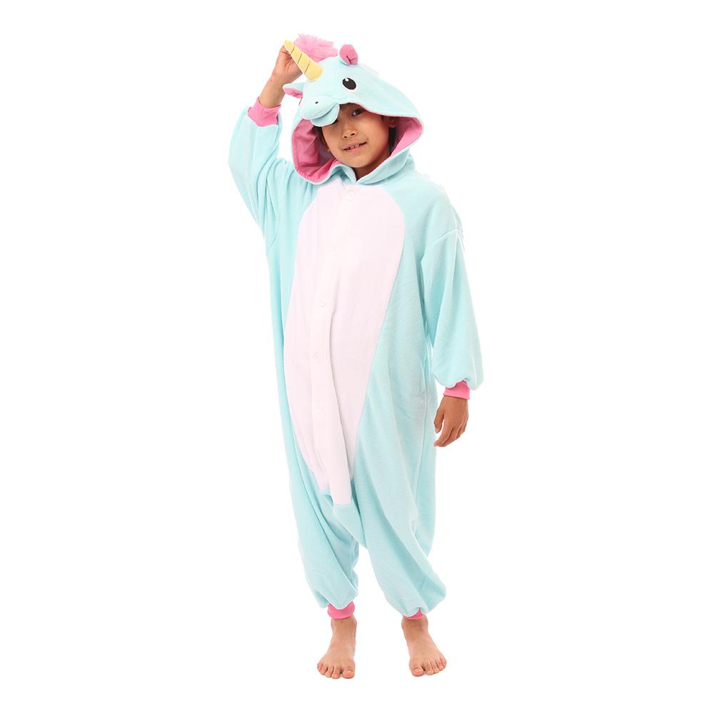 Blå Enhörning Barn Kigurumi - Small