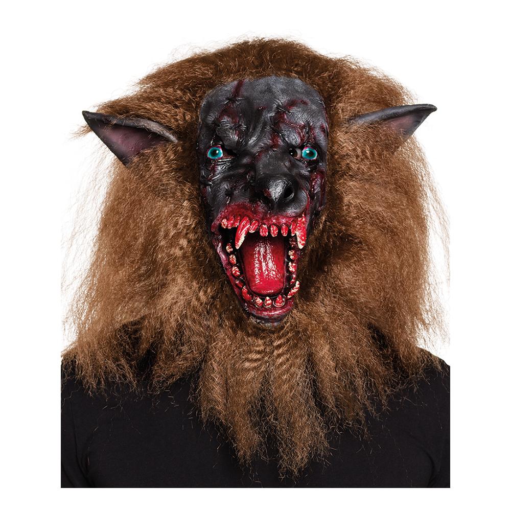 Blodig Varulv Mask med Hår - One size