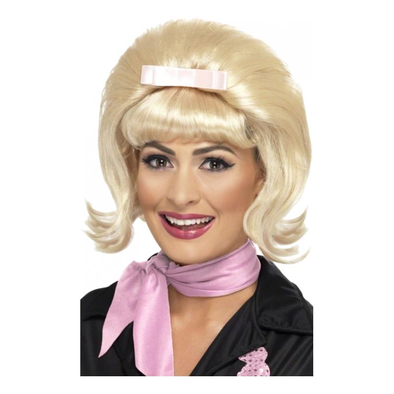 50-tals Blond Peruk med Rosett - One size