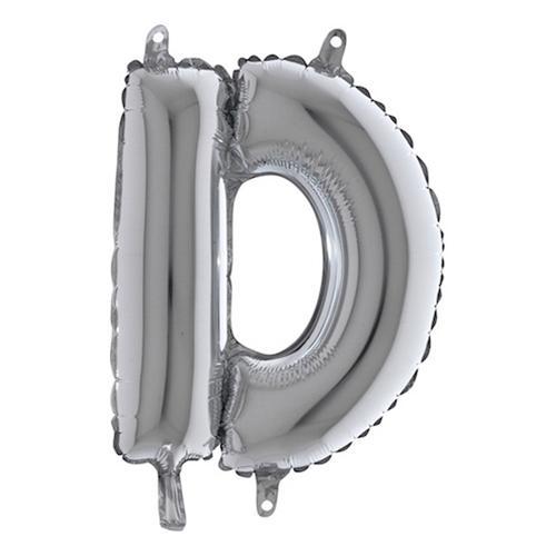 ?Bokstavsballong Mini Silver - Bokstav D