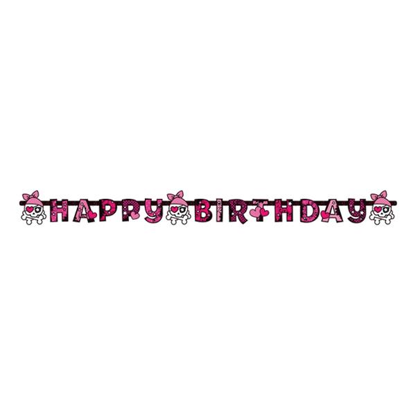 Bokstavsgirlang Happy Birthday Pirat Rosa