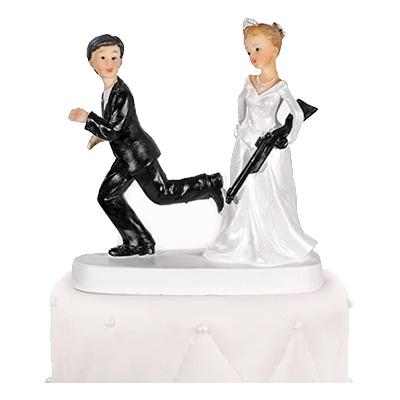 Bröllopsfigur Brud med Gevär