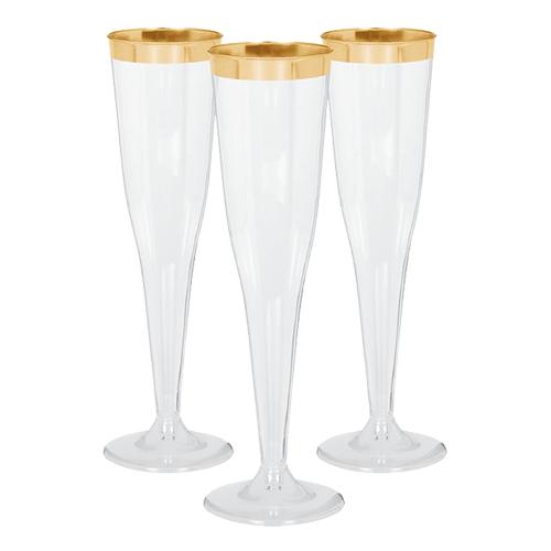 Champagneglas i Plast Premium Guldkant - 8-pack