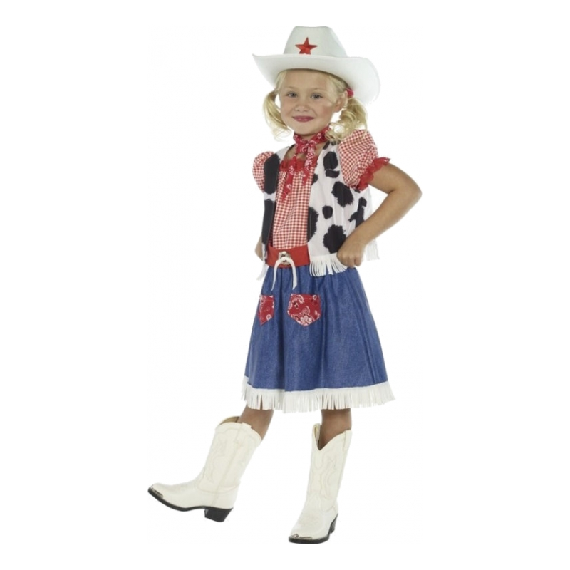 Söt Cowgirl Barn Maskeraddräkt - Small