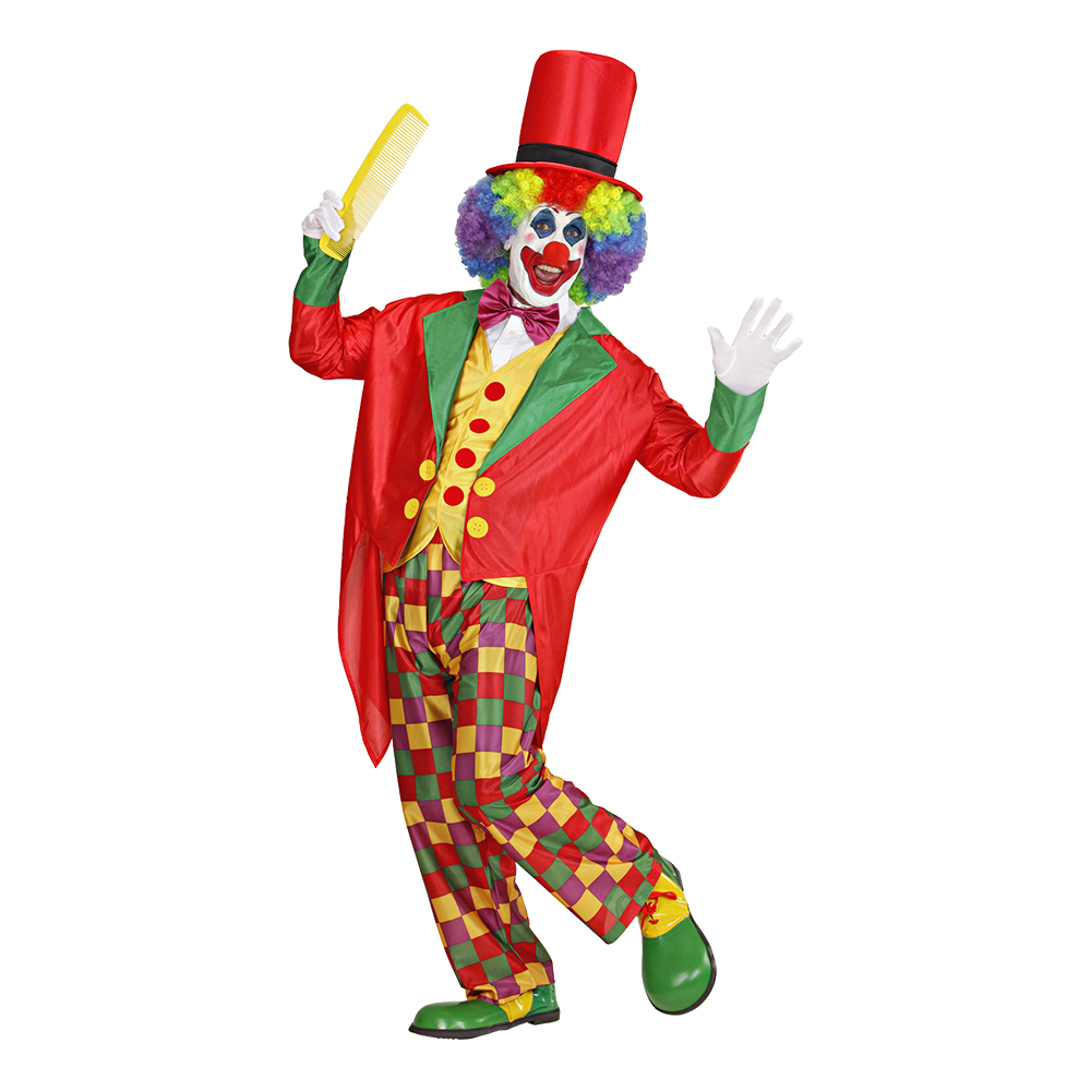 Clown med Frack Maskeraddräkt - Small