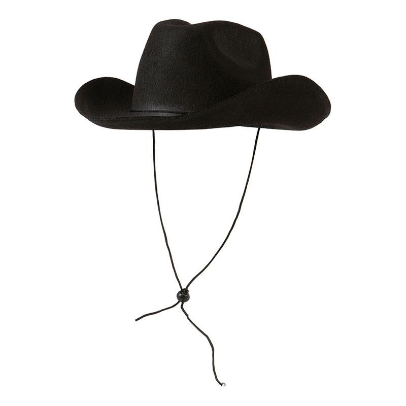 Cowboyhatt med Snöre Svart - One size