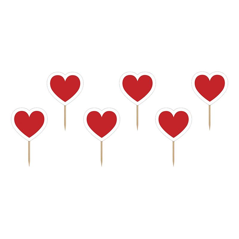Cupcake Dekorationer Hjärtan - 6-pack