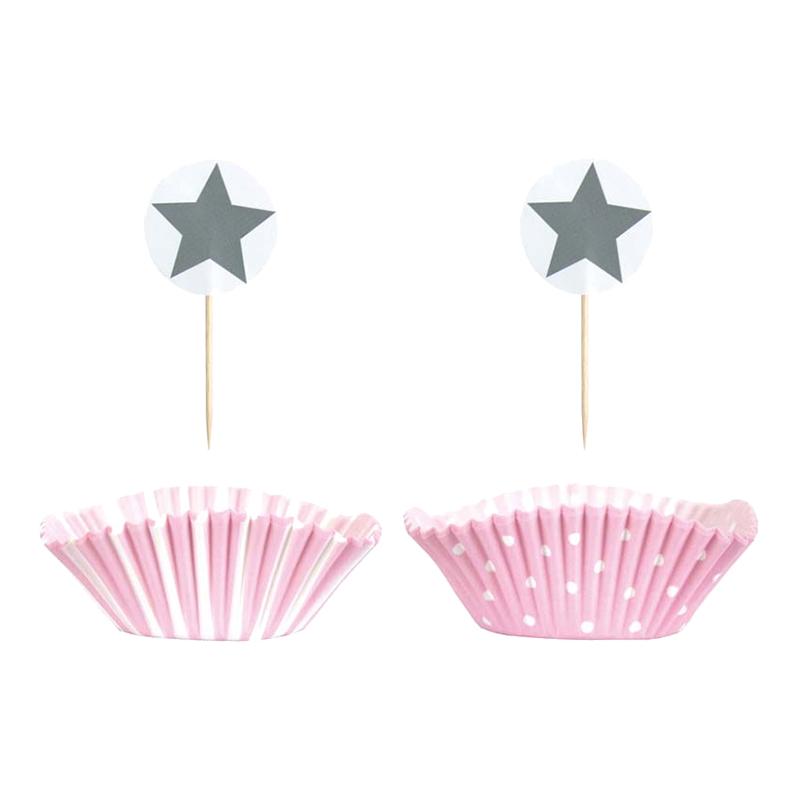 Cupcakeset Ljusrosa Stjärna - 24-pack