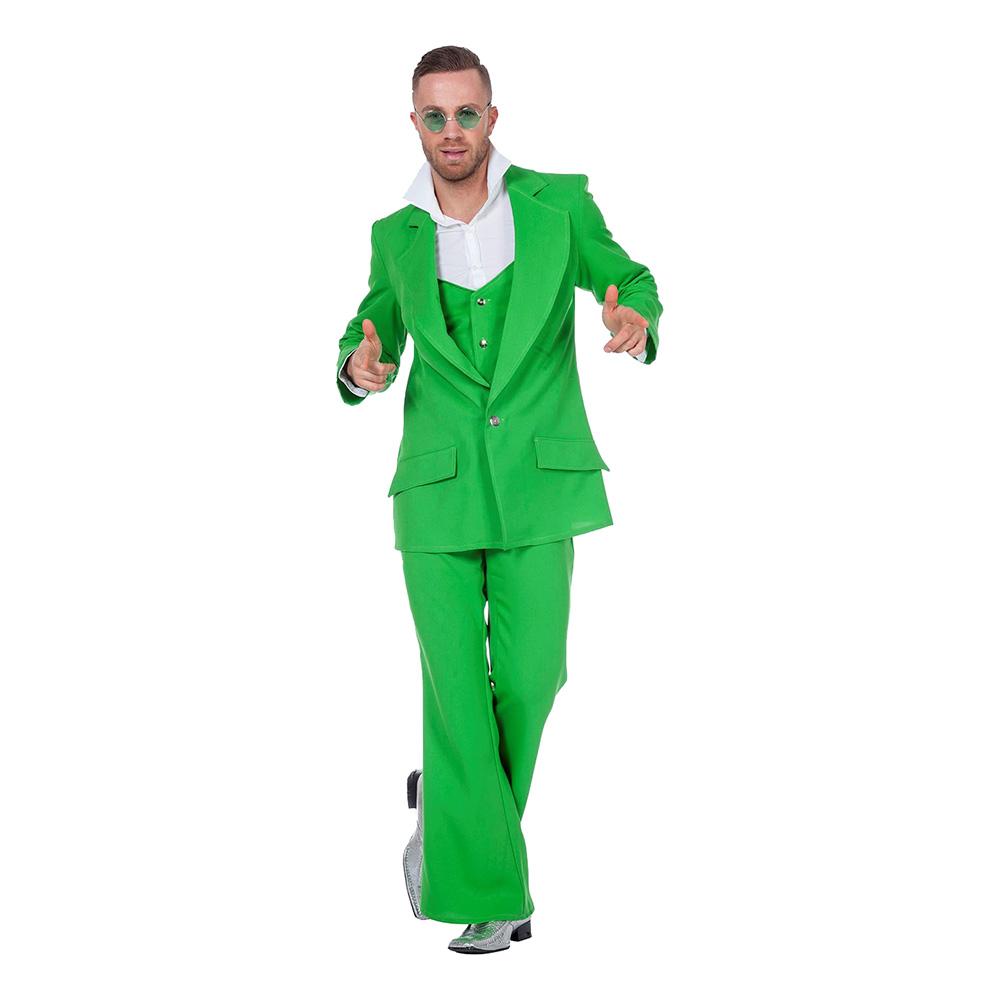 Disco Kostym Grön Maskeraddräkt - Small