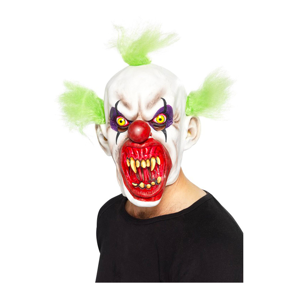 Elak Clown med Grönt Hår Mask - One size