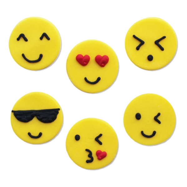 Emoji Sockerdekoration - 6-pack