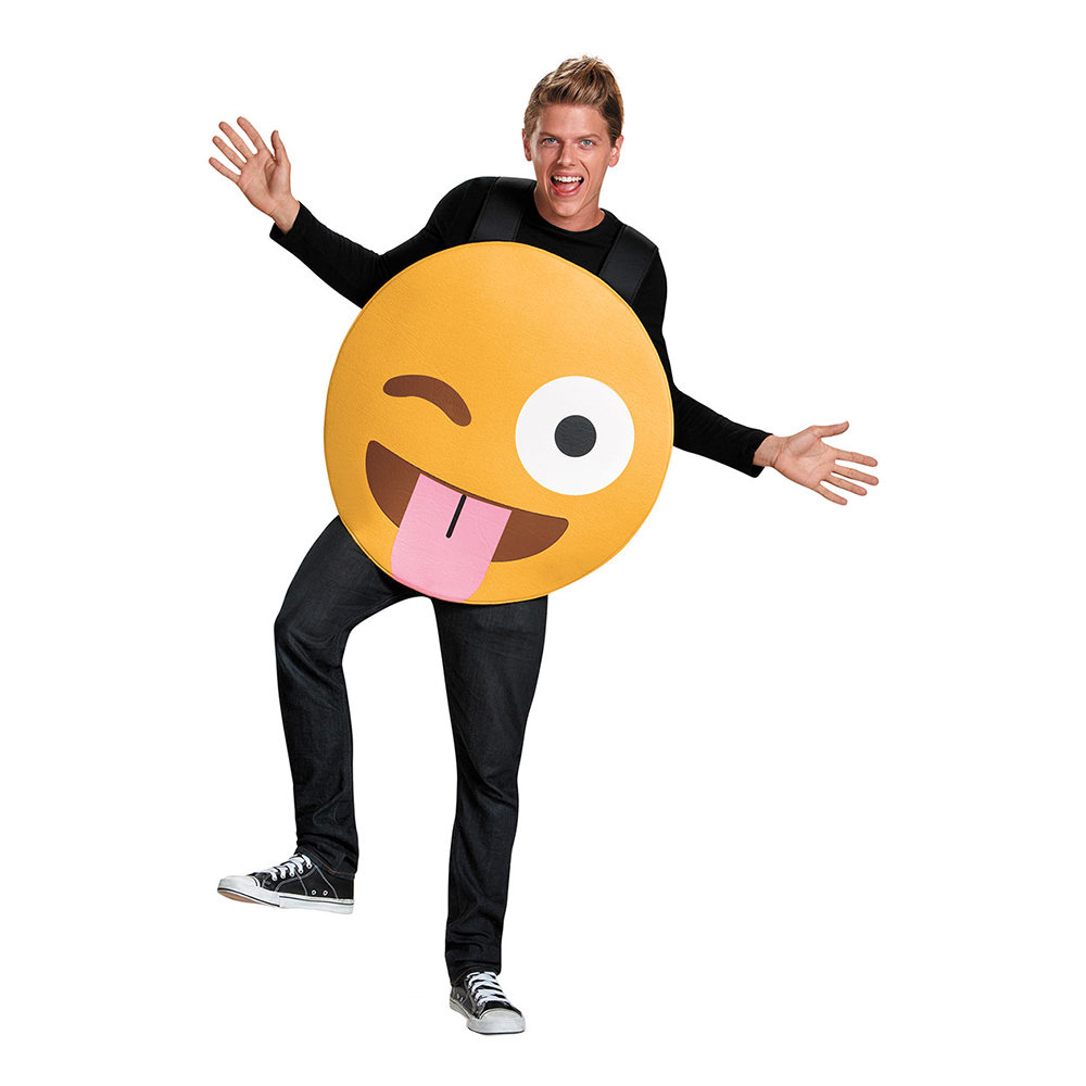 Emoji Tongue Out Maskeraddräkt - Medium