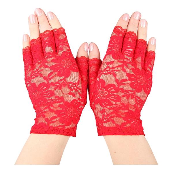 Spetshandskar Halva Fingrar Röda - One size