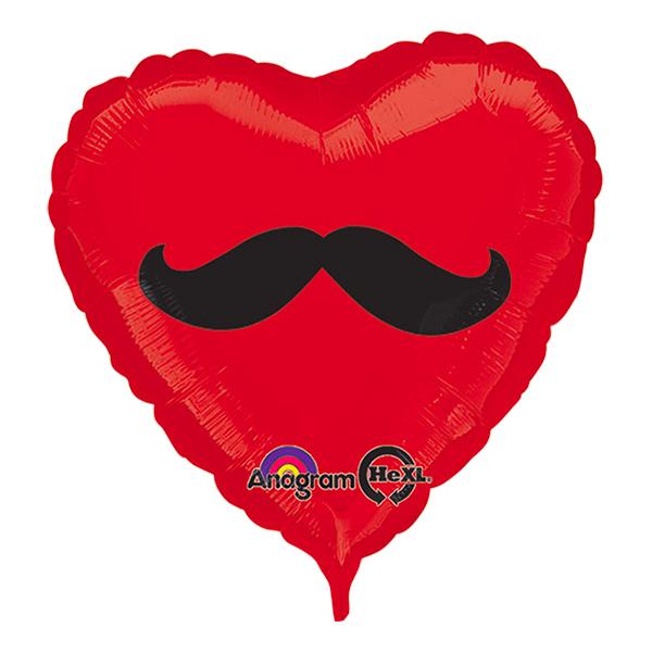 Folieballong Hjärta Mustasch