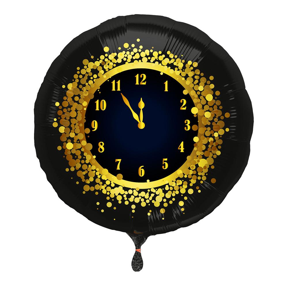 Folieballong Nyårsklocka Svart/Guld