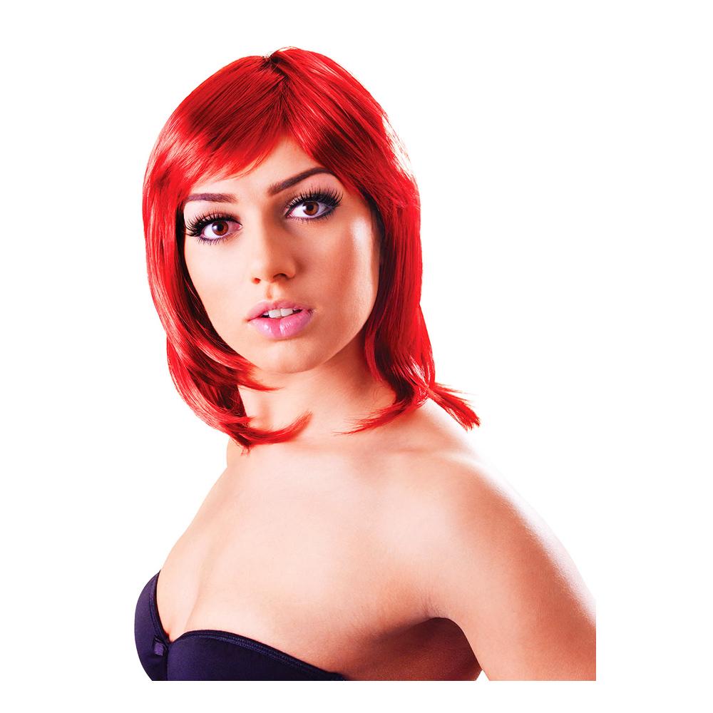 Glamour Uppklippt Röd Peruk - One size